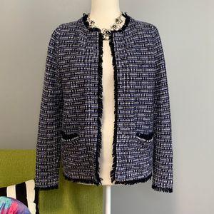J Crew Blue Tweed Fringe Blazer Jacket